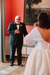 bride with father, first look with dad, north parlor first look