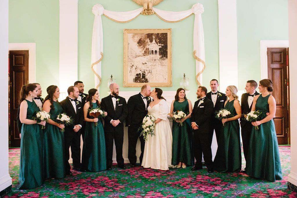 trellis room bridal party portrait