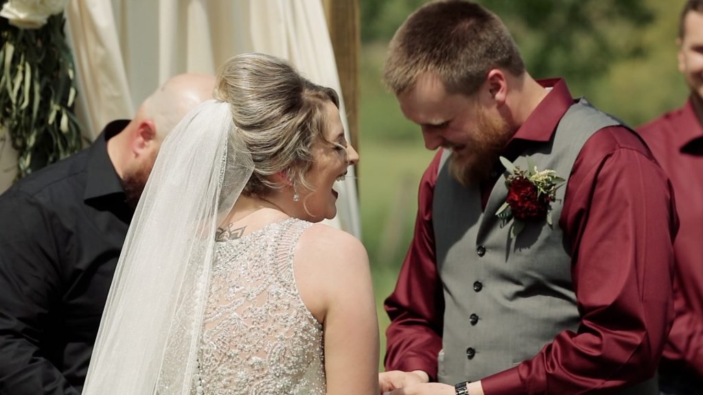 laughing during wedding vows, wedding day anxiety