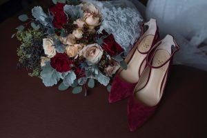 winter wedding details, winter wedding bouquet, wine wedding shoes, burgundy and blue wedding