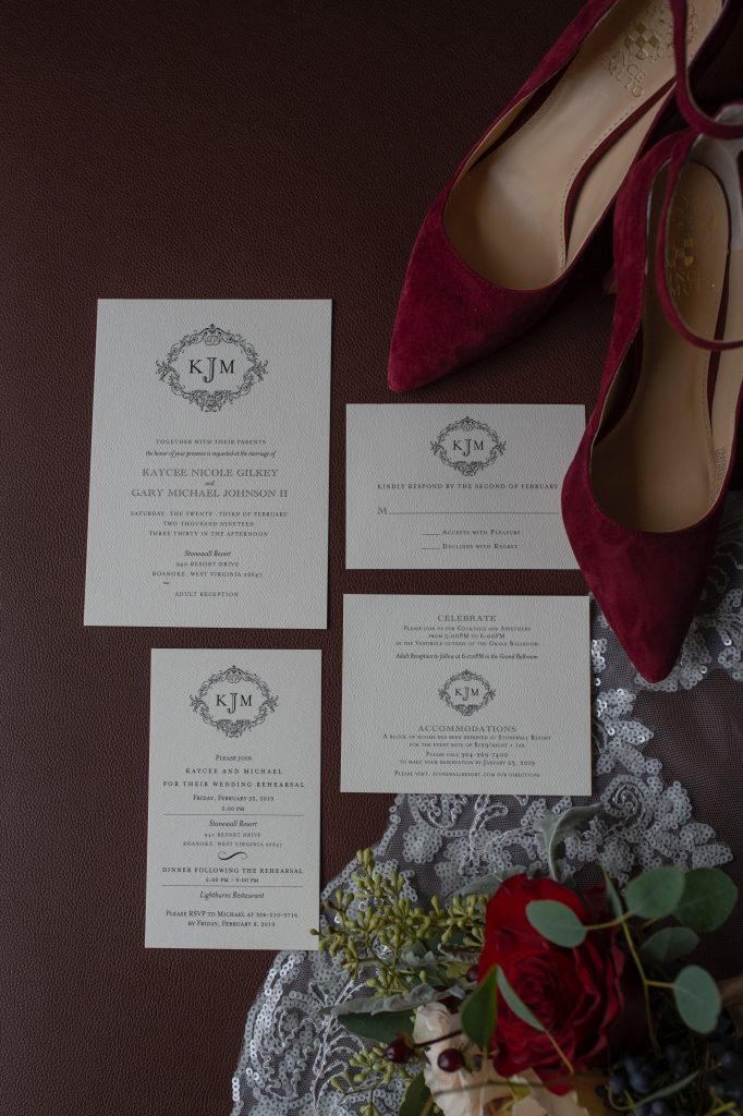 burgundy and blue wedding details, ivory wedding invitations with red wedding shoes